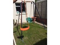 Only 6 months old single utdoor swing. Baby safe seat and sit up seat. Brand new.