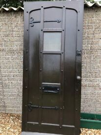 Faux Tudor Front Door, solid, iron door furniture, keys available - collect only