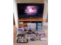 Playstation 2 Satin Silver Prestige, 2 controllers, Singstar, Buzz, Eyetoy plus games - HUGE BUNDLE