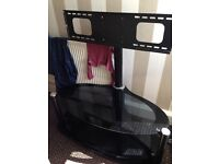 Black glass tv mountable stand