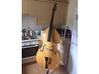 3/4 Double Bass with softcase bow and stand