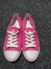 Pink Ralph lauren plimsolls trainers shoes size 6 womans