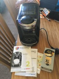 Tassimo coffee machine, rarely used, box of pods included.