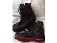 SAFETY BOOTS: Jalas, new quality steel toe capped work boots, lace up with side zip, black, Size 12