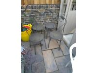 Set of 4 all metal cafe style garden chairs