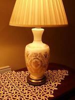 """Splendide lampe antique/1950 Victorienne26"""" verre soyeux&or + 2e"""