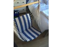 Wooden hammock chair- light wood, blue& white stripes