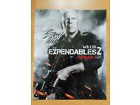 "Bruce Willis Hand Signed Press Photo 'Expendables 2'. 10"" x 8"" with Hologram COA."
