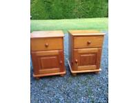 Pine bedside tables cabinets