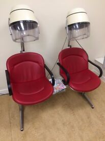 Two Red Vinyl Double Bank Hair Dryer Units. Open to Offers.