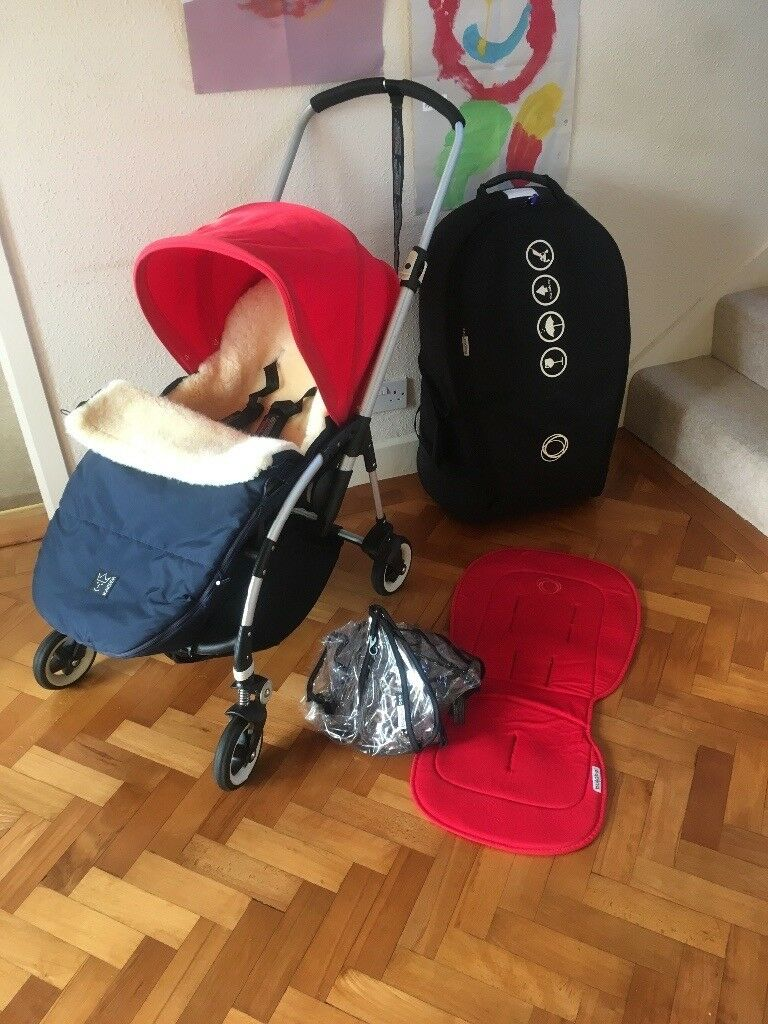 Bugaboo Bee pushchair buggy stroller with rain cover & Kaiser lambskin footmuff