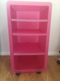 Pink Storage Unit/trolley on wheels