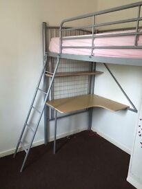 Metal frame cabin bed with desk