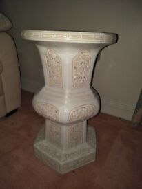 """PORCELAIN MARBLE LOOKING SIDE TABLE 20""""HIGH 12"""" TABLE DIAMETER £15.00"""