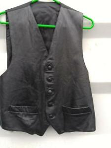Oakville Mens Sexy Black Leather Vest M 38 40 Black Made in Canada Vintage Retro Waistcoat Sexy Back Satin