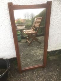 For Sale: Large Mirror With Wooden Frame - needs TLC good for a project!