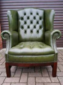 Chesterfield genuine antique green leather wingback chair EXCELLENT CONDITION BARGAIN