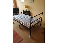 BLACK METAL FRAMED SINGLE BED AND MATTRESS - NEVER USED - BRAND NEW