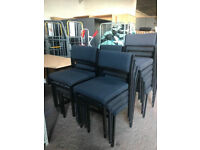 Black Fabric Stackable Chairs with Metal Frame