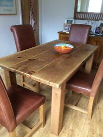 Solid wood dining table and 4 leather and solid wood chairs