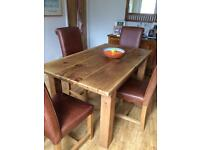 Solid wood dining table and 6 leather and solid wood chairs