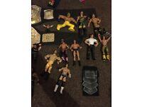 WWE wrestling figures and belts