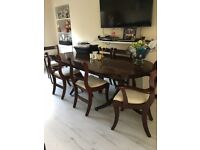 LARGE EXTENDABLE DINING TABLE, 6 CHAIRS. Brown, in colour, just now, option to have it up cycled!!!