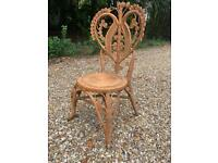 Vintage 1970's peacock style wicker ornate chair