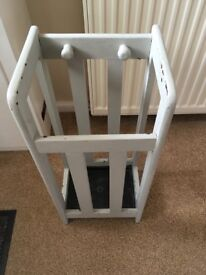 Painted wooden umbrella stand with tray. Grey. Victorian era