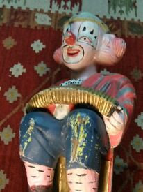 old hand carved and painted wooden clown great prop or interior design peice