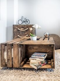 AMAZING CRATE COFFEE TABLE + CHEST OF 3 DRAWERS WITH ROPE