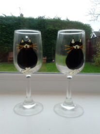 Pair of hand painted cat wine glasses