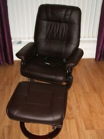 Brown leather massage/heat chair with massage footstool.