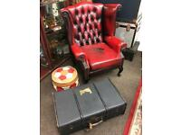 Leather wing back chesterfield chair