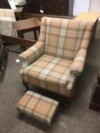 Moon Tartan armchair & stool * free furniture delivery*