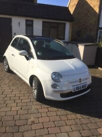 """Fiat 500 Lounge 2014 (64), only 7,000 miles, panoramic roof, 16"""" alloys, one owner"""
