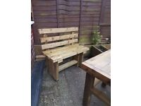 1200mm TIMBER BENCHES with BACK - delivered - any location -
