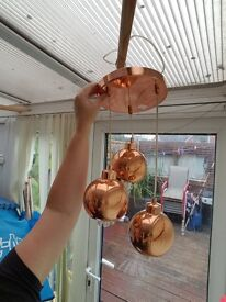 lovely three copper light come with three lights bulbs for sale 15 pound