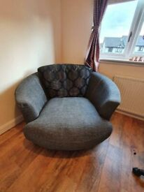 Bargain!! Good Condition Grey Colour Corner Sofa with Rotating Swivel Cuddle Chair