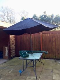 Glass Topped Patio Table with umbrella