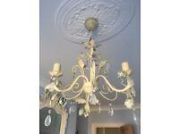 3 lamp chandelier, floral