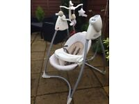 Musical swing rocker by Graco , plays soothing music while baby gently falls asleep !