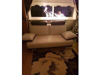 White & black sofa, spinning chair & storage foot stool.