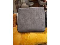 Black, silver and faux leather corner cushion back sofa