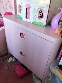 IKEA BUSUNGE Chest of 2 drawers Light Pink