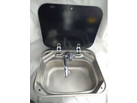 Smev - VA8005 Sink & Tap With Glass Lid For Caravan, Motor Home and Boats