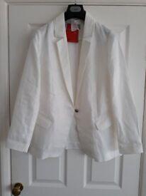 Pure Collection white linen jacket - UNWORN size 16