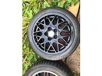 4X GENUINE 15 INCH BBS ALLOYS VW GOLF MK3 VR6 WHEELS TYRES AND WHEELS GOOD CONDITION GLOSS BLACK