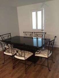 Black white high quality marble table and 6 chairs