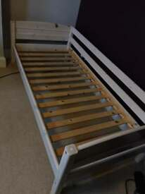 Single bed, slatted, solid wood whitewashed